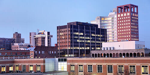 Historic downtown Bridgeport featuring many corporate office buildings including People's United Bank.