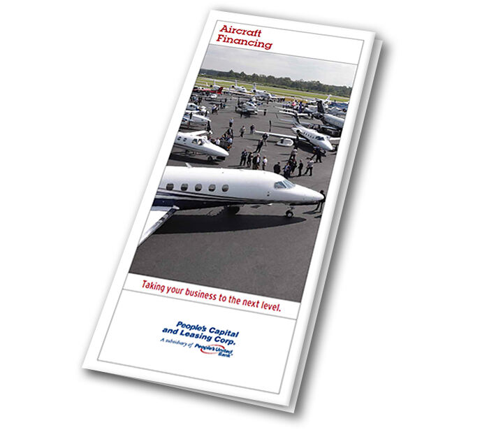 Printed folded aircraft equipment financing brochure from People's Capital and Leasing Corp.