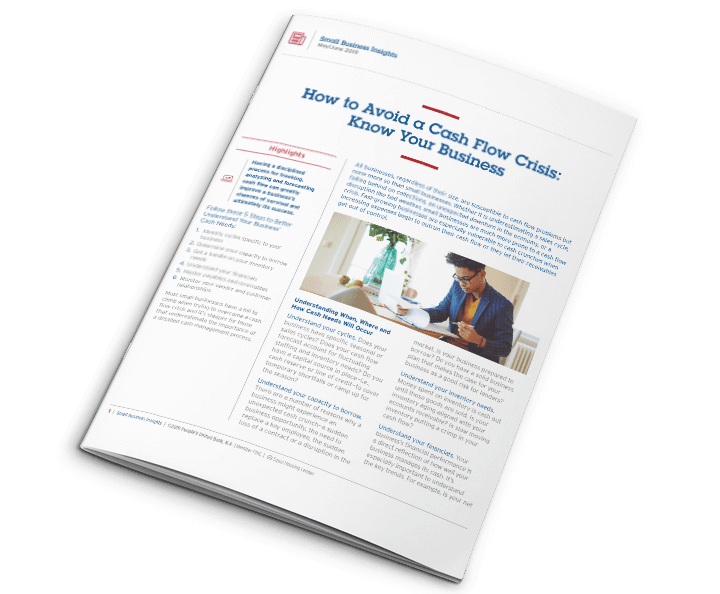 Peoples United Bank June 2019 issue of Small Business Insights, with a feature on How to Avoid a Cash Flow Crisis.