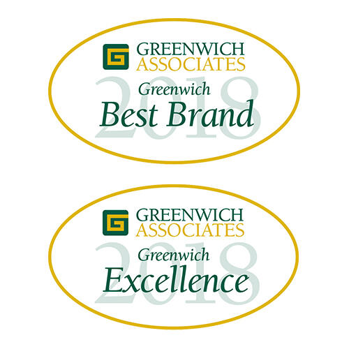 Greenwich Associates Best Brand and Excellence 2018 badges