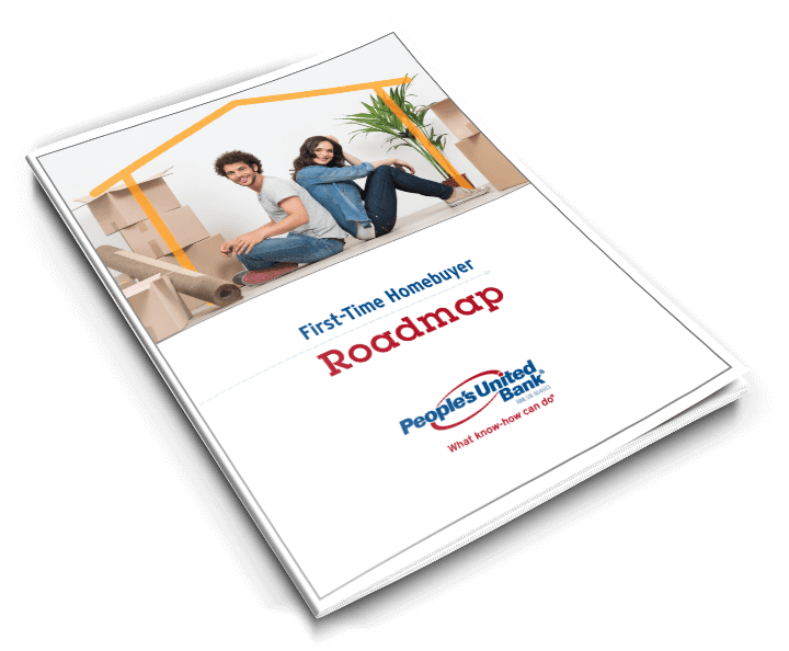 Cover of the People's United Bank First-Time Homebuyer Guide full of information about downpayments, types of mortgages and the process