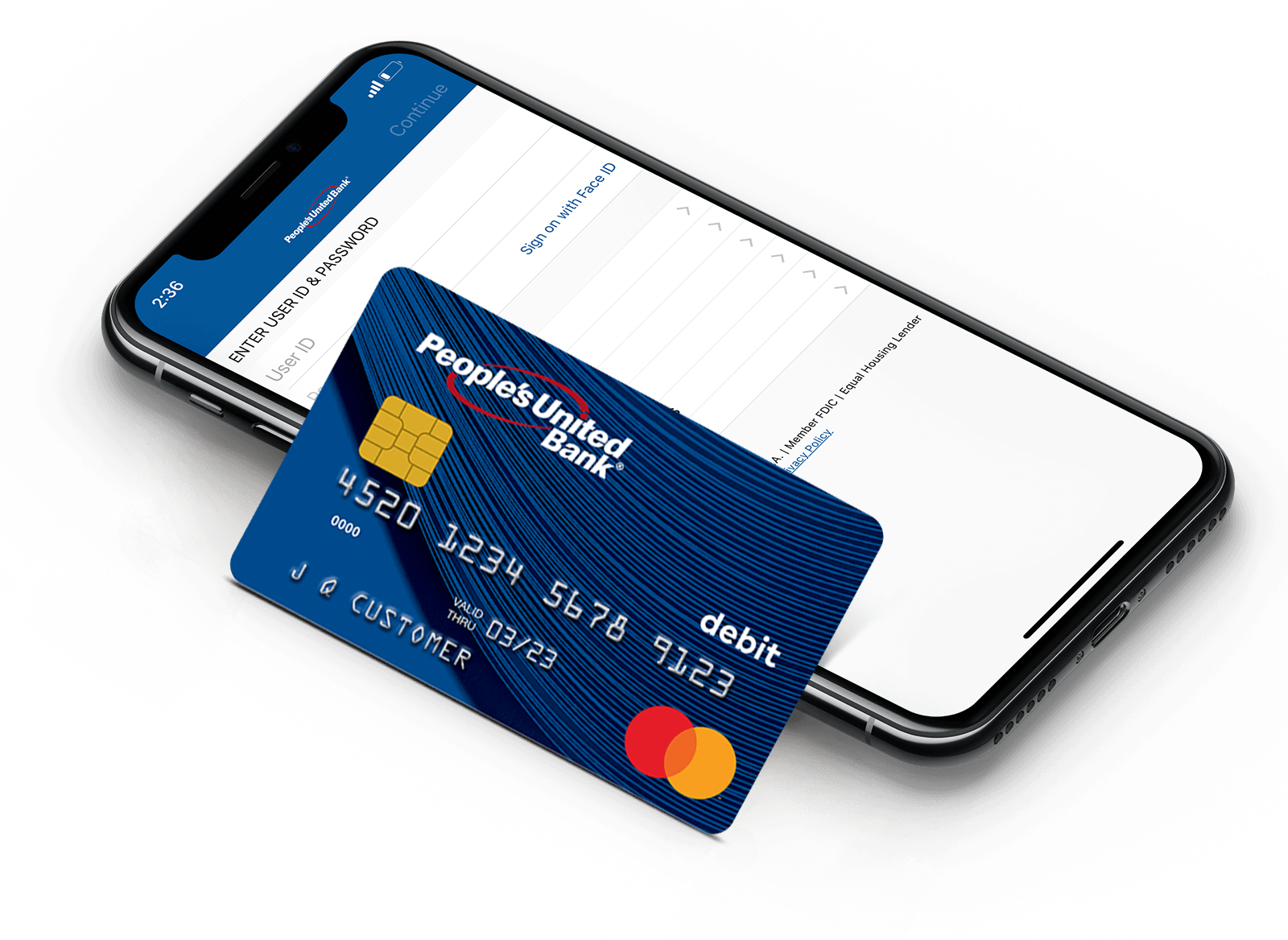 People's United Bank Mastercard® Debit Card leaning on a mobile phone