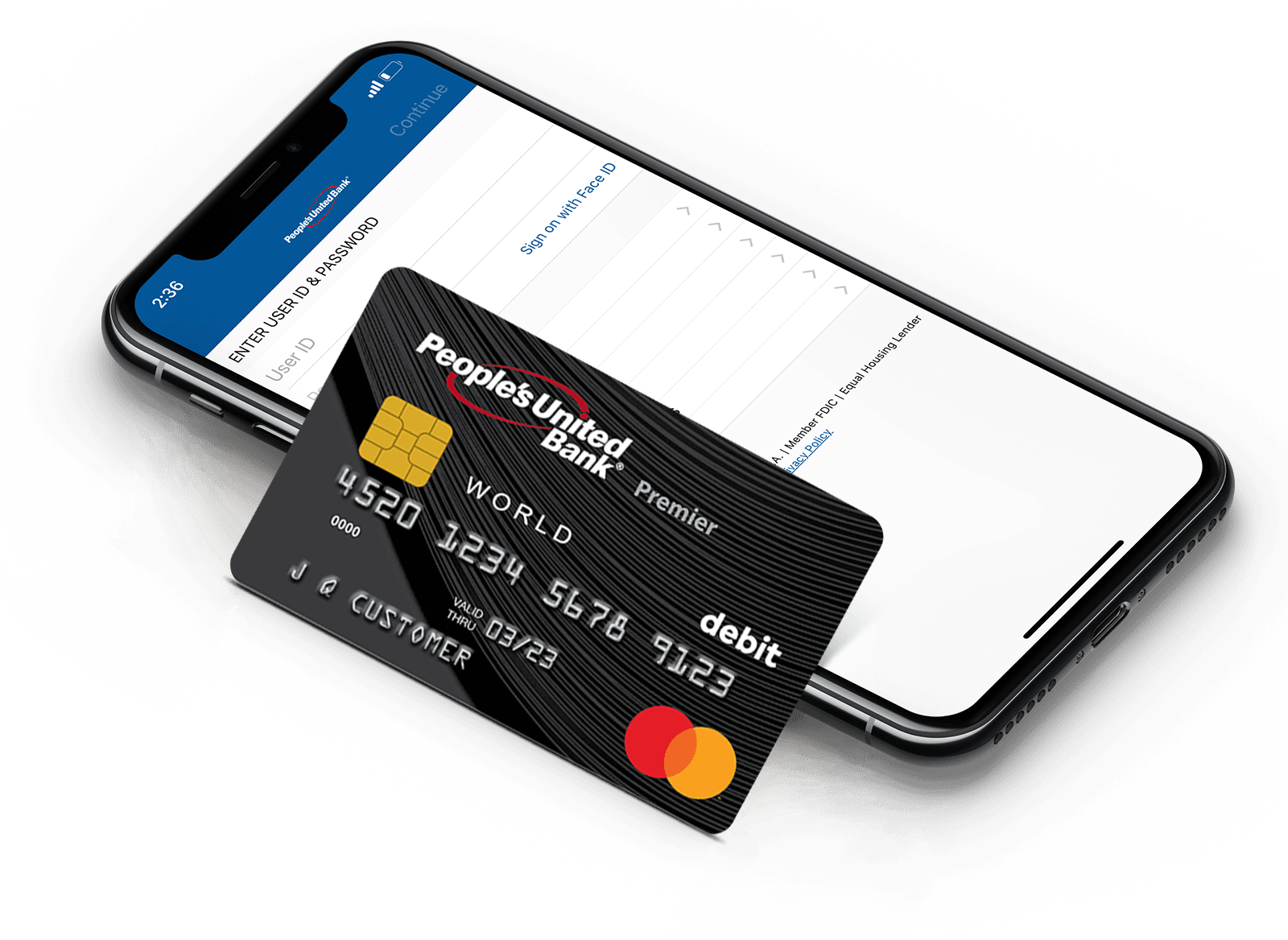 d Bank World Premier Mastercard® Debit Card leaning on a mobile phone