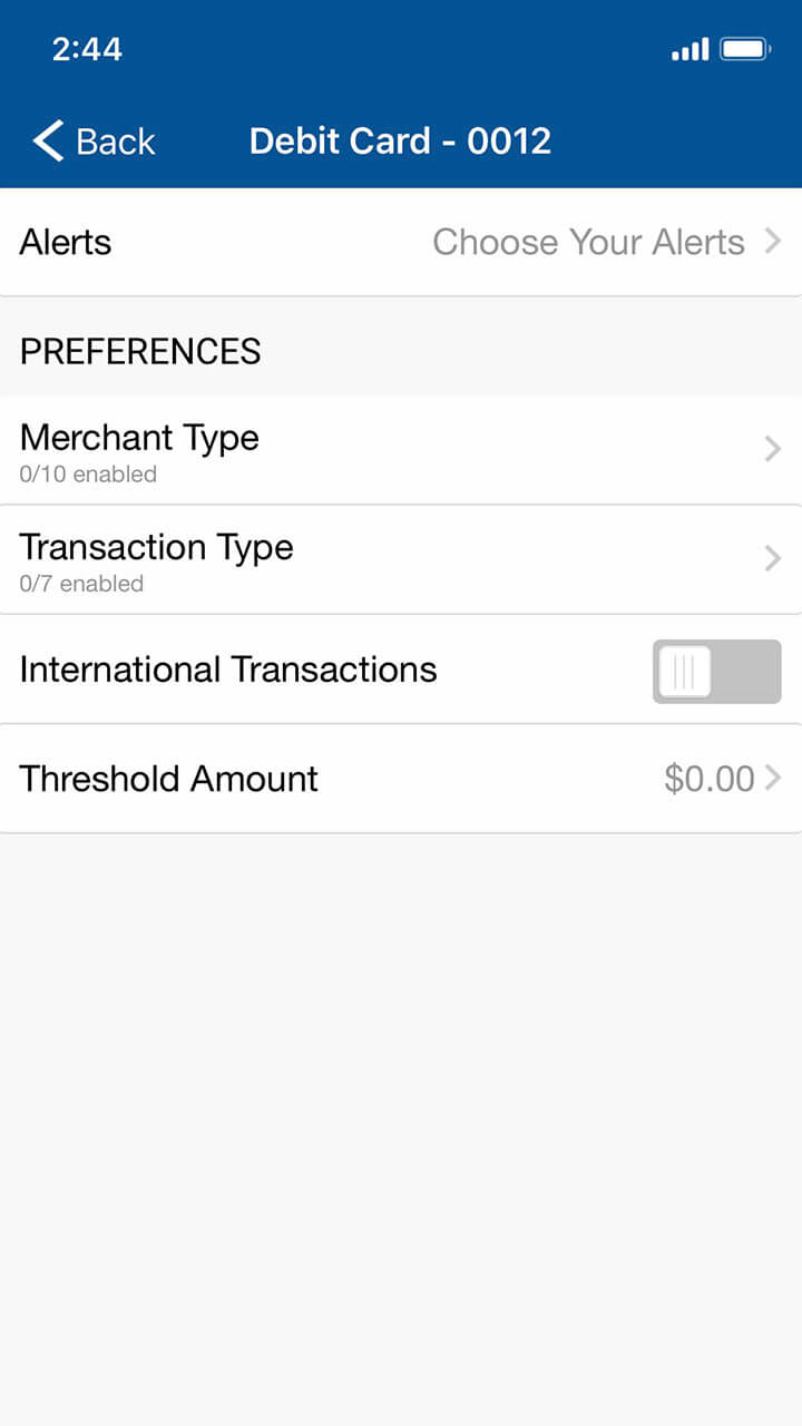 Mobile banking screen showing all Alert options for debit cards
