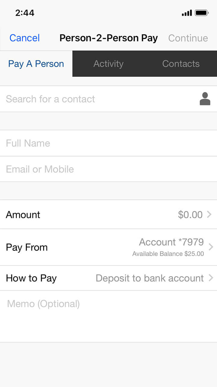 Person-2-Person mobile screen with all fields empty, as seen when a new payment is first initiated