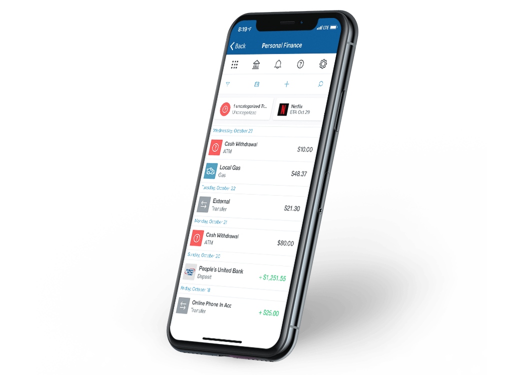 Personal Finance on mobile showing the transactions screen