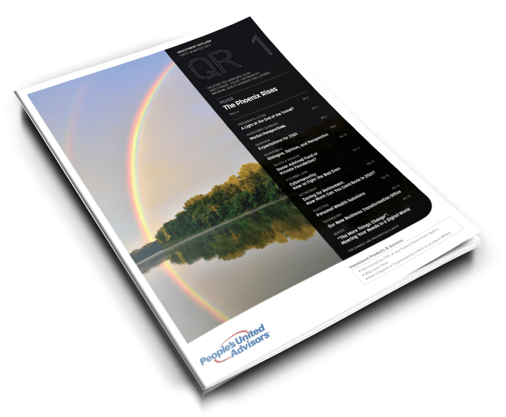 Quarterly investor's magazine with articles on trust, retirement, and banking, with a cover visual of a rainbow reflecting on a river.