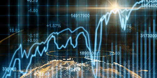 An abstract compilation of the earth with stock market chart for a business and technology trading concept